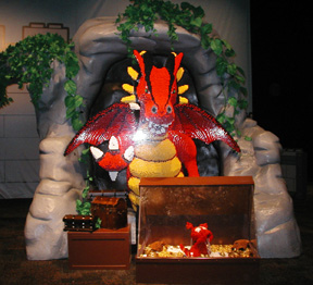 Life sized dragon made completely out of legos!