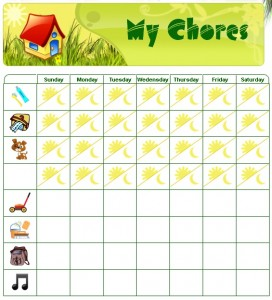 You can build your chore chart by dragging and dropping pictures from our clipart gallery into the columns on the left. Your toddler can then mark off when they have completed something. There is even a space on some of the days to mark off a chore that must be done in the morning and night.