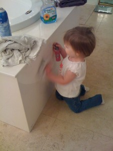 Cleaning can be a fun and productive game for your toddler to play!